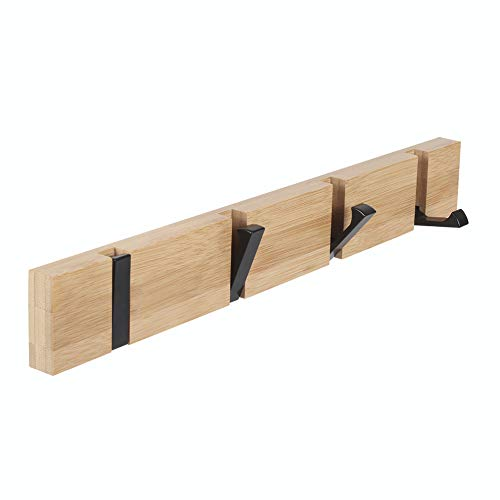 Wooden Coat Hooks JSVER Coat Rack Wall Mounted Urban Design Coat Hook Space-Saving Hook Rack with 4 Standard Retractable Hooks Hat Coat Hook for Entryway, Hallway, Bathroom, Living Room, Bedroom