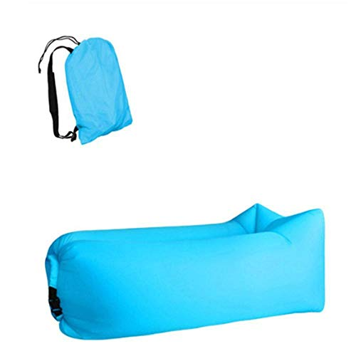 BGPOM Hammock Inflatable Sofa Lazy Bag Camping Hammock Foldable Four Seasons Ultralight Air Bed Lounger Outdoor Product-Light Blue