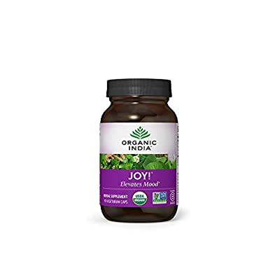 Organic India Joy! Herbal Supplement - Elevates Mood, Immune Support, Promotes Memory & Concentration, Vegan, Gluten-Free, Kosher, USDA Certified Organic, Non-GMO, Calming - 90 Capsules from ORGANIC INDIA