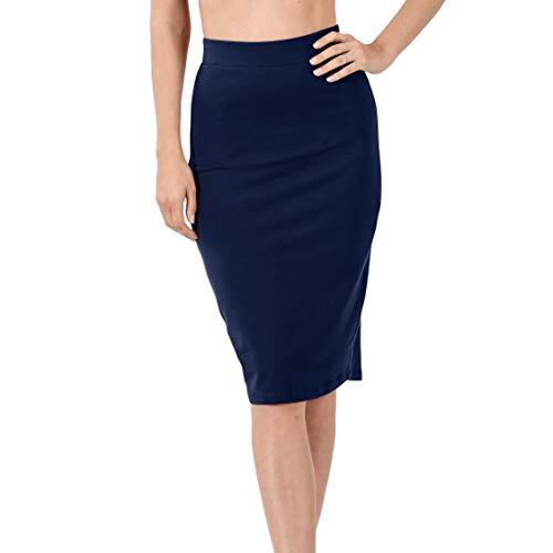 Nolabel 4562 Cotton Bodycone Ponte Basic Knee Length Pencil Skirt for Women Elastic Waist Band Wear to Work Navy, Medium
