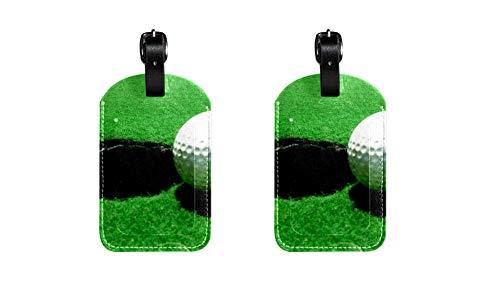 Golf 015 Kofferanhänger Koffer Leder Gepäckanhänger 2 Stück Namensschild Adresse Tag Flugzeug Gepäckanhänger Visitenkartenhalter Kartenpaket 7x11.4cm