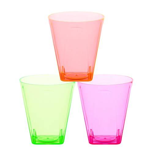 PLASTSCHICK 60 Stück 5cl Schnapsgläser aus Plastik | Einweg Hart Plastik Becher | Buntes neon Shotgläser Set | Schnapsbecher Plastik für Partys und Bars | sicherer als Glas