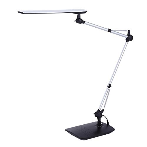 PureOptics LED Dual Swing Arm Desk Lamp, Touch On/Off, Multi-Level Dimming, Black (VLED1509)