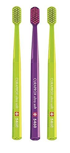 CURAPROX CS5460 Handzahnbürste ultra soft, 3 Stück, (farblich sortiert, Farbe nicht wählbar), sehr weiche Zahnbürste, toothbrush