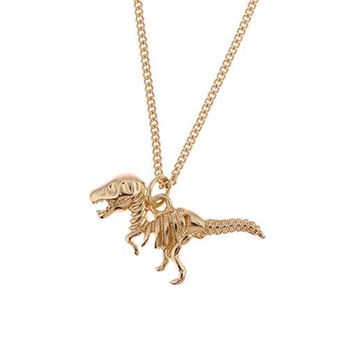 Collares, Simple de la moda popular de metal dinosaurio mujeres collar de los Hombres exagerado Retro collar colgante Collares (Color del metal: color oro)
