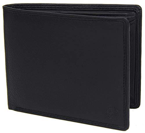 Frentree® Herren Geldbörse aus Nappa Leder mit RFID Schutz, 6 Fächer, Querformat Portemonnaie, Schwarz