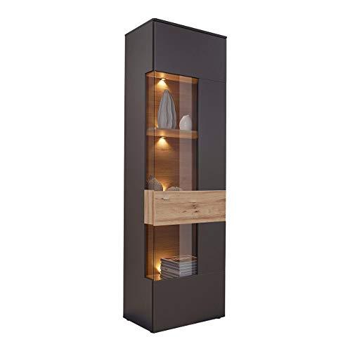 Meubletmoi - Colonna per vetrina, 1 porta, apertura destra, bicolore decoro legno chiaro e grigio, design contemporaneo, collezione Marbella