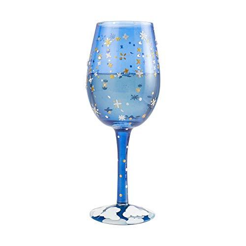 Enesco Designs by Lolita Dream Hand-Painted Artisan Wine Glass, 15 Ounce, Blue