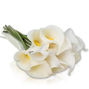Invivo 10 Largos Tallos DE Flores Y Ramo DE Lirios Blancos Artificiales, para EL HOGAR Tienda Oficina Restaurante…