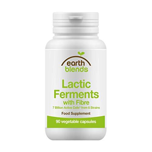 Earth Blends - Fermenti lattici con fibre, 7 miliardi di fermenti lattici attivi, 90 capsule vegetali, per adulti e bambini dai 6 anni in su