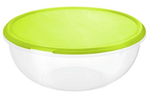 Rotho Rondo Schüssel 6 l mit Deckel, Kunststoff (BPA-frei), grün/transparent, 6 Liter (32,5 x 32 x 13,5 cm)