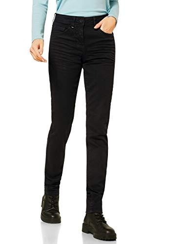 Cecil Damen 373603 Style Toronto Slim Fit High Waist Jeans, Black Denim, W36/L34