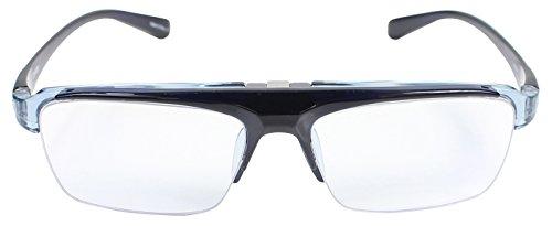 パール 跳ね上げ 老眼鏡 リーディンググラス ブルーライトカット CSTADO スクエア ブルー +2.0 度数 LT-P301-3CBU +2.0 男性用