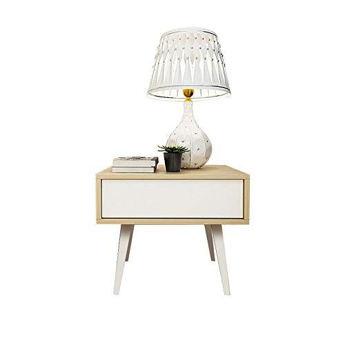 HJKH Bedside Cabinet Wooden End Table Table Nightstand Side Table for Living Room Bedroom Drawer Bedside Cabinet, (Color : Beige, Size : 45x60x50cm)
