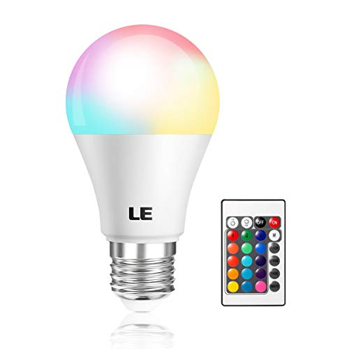 LE Color Changing Light Bulb with Remote, Dimmable LED Light Bulbs, E26 Screw Base, RGB & Soft Warm White, 40 Watt Equivalent, 16 Color Choices for Home Decor, Bedroom, Stage, Party and More