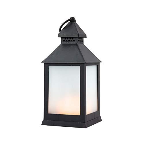 NETPROSHOP LED batterij lantaarn met vlameffect warm wit Indoor zwart