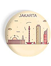 dhcrafts Fridge Magnet Brown Color Cities Glossy Finish Design Pack of 1