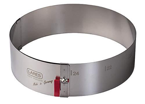 Lares - Kuchenring/Tortenring mit Klemmhebel - 18-30cm Ø, H: 7cm - Federbandstahl, stufenlos fixierbar - Made in Germany