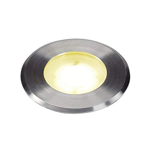 SLV Bodeneinbauleuchte DASAR® Flat / LED Spot für Terrasse, Outdoor-Strahler, Einbau-Lampe Garten, Bodenlampe für Außen / IP67 4000K 4.3W 110lm edelstahl