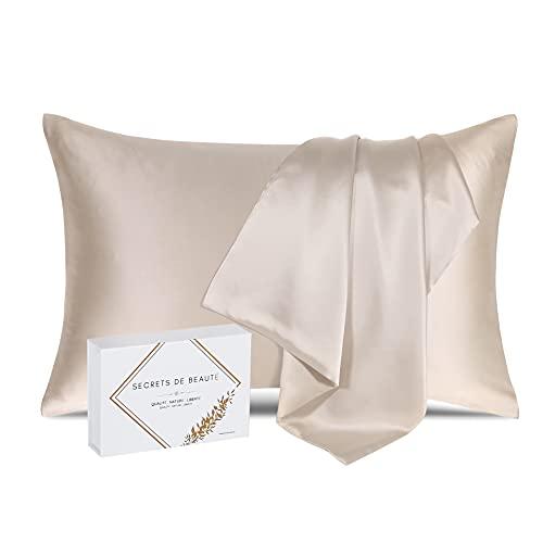 Funda de almohada 100 % seda natural de morera 22 Momme, calidad superior, grado 6A, sin productos químicos, bio-piel sensible, pelo afroo, rizado, gras, regalo anticaída (65 x 65 cm)