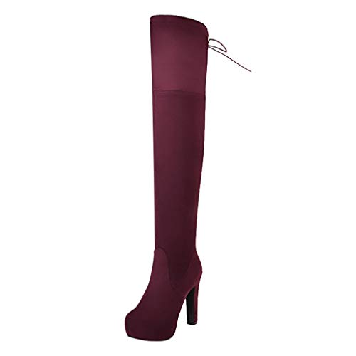 Stiefel Damen Blockabsatz Durchgängiges Plateau Over-Knee Hohe Stiefel Seitlicher Reißverschluss Stretch Riemchen Schuhe Damenschuhe (39 EU, Rot)