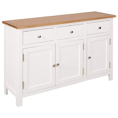 AYNEFY Aparador de madera maciza de roble para comedor, cocina, aparador largo, 3 cajones/2 armarios de almacenamiento, 110 x 33,5 x 70 cm