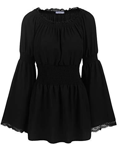 trudge Damen Schulterfrei Vintage Bluse Lange Ärmel Spitze Rüschen Smocked Taille Boho Tops Shirts Frühling Herbst Winter (XL, Schwarz)