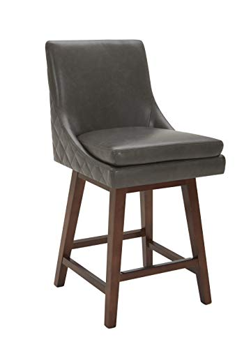 """CHITA Counter Height Swivel Barstool, Upholstered Faux Leather Bar Stool, 26"""" H Seat Height, Grey"""