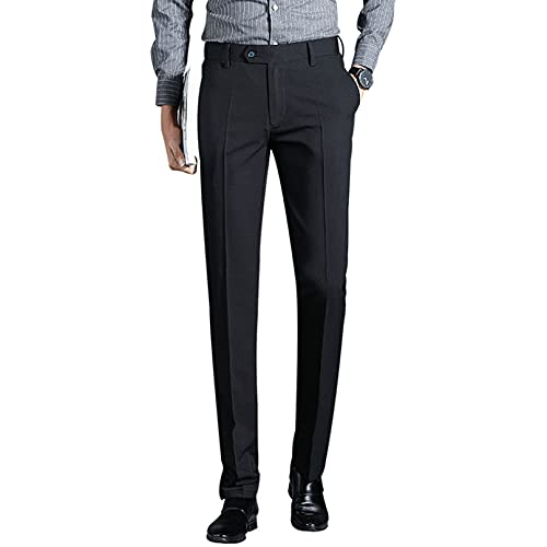 Men's Casual Lounge Dress Pants Skin-Friendly Button Bottoms Fashion Skinny Fit Straight Daily Formal Smart Trousers