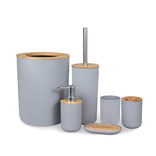 MisFox 6-teiliges Bambus Badezimmer Set, Bad Zubehörset Umweltfreundliches Toilettenzubehörset mit Lotionspender, Mülleimer, Zahnbürstenhalter, Zahnputzbecher, Toilettenbürste und Seifenschale