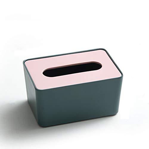 HYAN Pañuelos Cuadrados de Escritorio sostenedor de la Caja con Tapa de Sellado de Resina de Hogares Sala Oficina de la servilleta de Papel de Bombeo Caja de Almacenamiento (Color : Green)