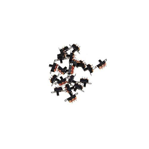 2 Posición 3 pines Micro SPDT PCB miniatura interruptor deslizante interruptor con bloqueo de palanca para las pequeñas de bricolaje de energía Proyectos electrónicos 20pcs (Negro)