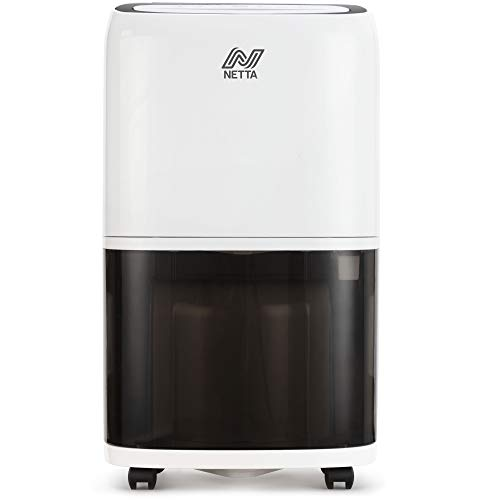 NETTA Dehumidifier 20L/Day - Digital Control Panel, Continuous Drainage, Auto Restart, Timer, 5.5L Water Tank - For Home & Office, Damp, Mould Control, Laundry Drying