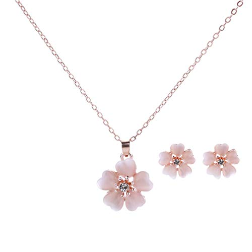 TENDYCOCO Halskette Ohrringe Ohrstecker Set Kirschblüten Stil Elegante Ohrringe für Frauen Mädchen