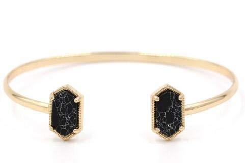 SDFASV Kupfer kleine ovale Quarz Harz Druzy Armreifen Marmor Stein Manschette Armreifen für Frauen Gold schwarzer Marmor