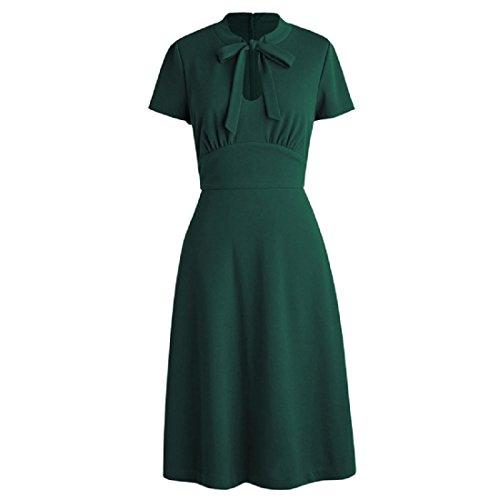 KUFEIUP Schlüsselloch-Fliege vorne 30er 40er Vintage Kleider für Frauen - Grün - XX-Large