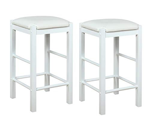 Linon Betsy White Backless 25' Counter Stools Set of Two