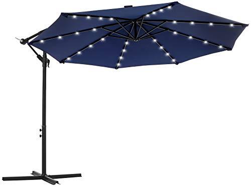 SONGMICS Sonnenschirm mit LED-Solar-Beleuchtung, Ampelschirm, Gartenschirm, 32 LED-Lämpchen, Ø 300 cm, mit Ständer, UV-Schutz bis UPF 50+, mit Kurbel, für Garten, Terrasse, Marineblau GPU018L01