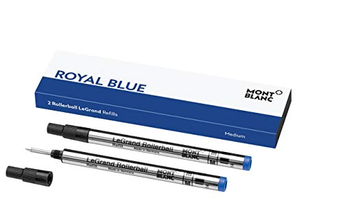Estos recambios Montblanc Rollerball en Royal Blue han sido diseñados para adaptarse a su gama LeGrand La punta es de tamaño mediano y con un mecanismo de atornillado para que sus recargas queden bien ajustadas y así proporcionarle una escritura esta...