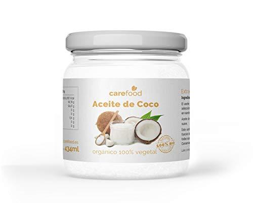 Aceite de coco Ecológico Virgen Extra 100% Orgánico – 434 ml Carefood | BIO Ecológico | Prensado en frío | Para uso Estético, en Cocina y Masajes