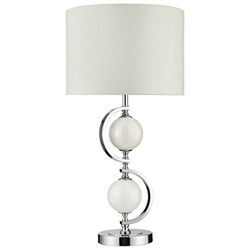 Designer Tischleuchte mit Stoffschirm, Höhe 70cm, E27 max. 60W, LED geeignet, Tischlampe Nachttischlampe Wohnzimmerlampe