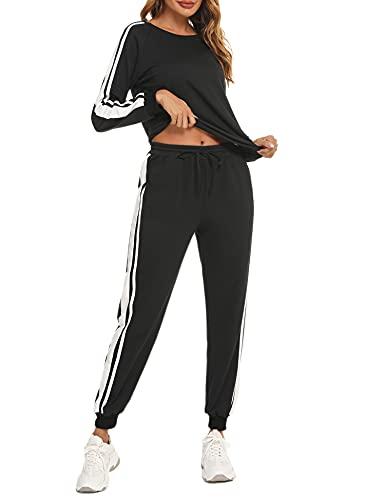 iClosam Icoasm Donna Completo Sportivo Tuta Donna Elegante Sportiva Due Pezzi Felpa Per Corsa Yoga Pigiama