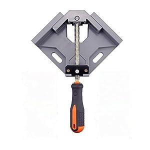 OFNMY Abrazadera de ángulo recto de 90 grados con una mano Aleación de esquina Abrazadera de esquina para la carpintería