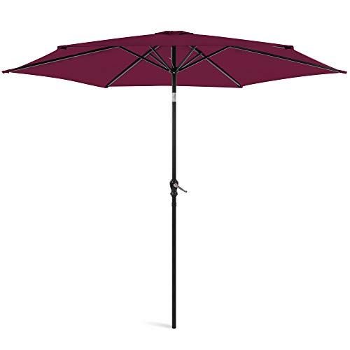 Best Choice Products 10ft Outdoor Table Compatible Steel Polyester Market Patio Umbrella w/Crank and Easy Push Button Tilt, Burgundy