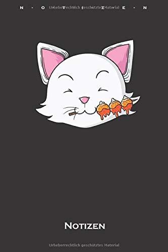 Katze isst Dango Reisklöße Notizbuch: Kariertes Notizbuch für Feinschmecker und Fans der asiatischen Küche