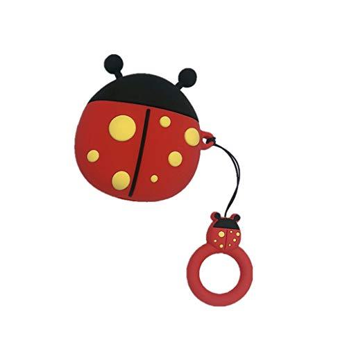 Quyuan Cute Ladybug Pattern Funda Protectora de Silicona Suave Funda a Prueba de Golpes Protector de Piel con cordón para Airpods 1/2 Caja de Carga