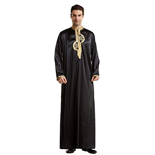 MINASAN Männer Muslimische Kleider Kaftan - Islamische Kleidung Herren Islamische Kostüm V-Ausschnitt Arab Nachtwäsche Mit Taschen Indian Muslim Herrenhemd Lange Bademäntel Morgenmäntel (Schwarz, L)