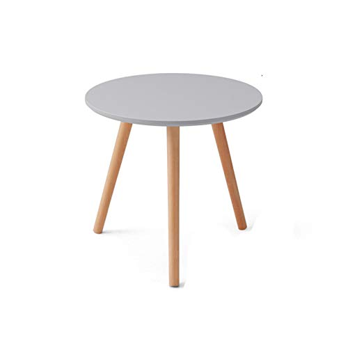 Solid Wood Round Table,Modern Decorative Coffee Table Accent End Tables Interior Corner Furniture 40CM/50CM/60CM Side Table For Small Spaces White Black Blue Yellow Grey(Size:50*50*50CM,Color:Grey)