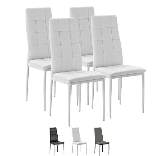VS Venta-stock Set de 4 sillas Comedor Chelsea tapizadas Blanco, certificada por la SGS, 42 cm (Ancho) x 51 cm (Profundo) x 97 cm (Alto)