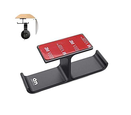 6amLifestyle Supporto Cuffie da Tavolo, Alluminio, Adesivo 3M Facile da Installare, Stand per Cuffie, Perfetto per l' Ufficio e la Casa, Nero (Brevettato)